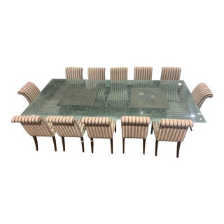 Twelve Foot Crackled Glass Table With Two Wooden Pedestals and Twelve Chairs. For Sale