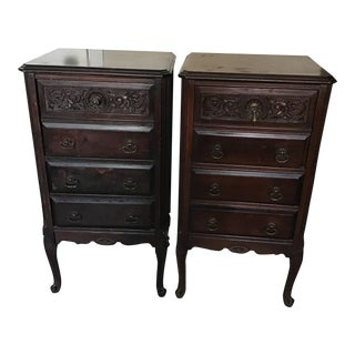 Antique Style Drop Down Front Cabinet Nightstands - A Pair