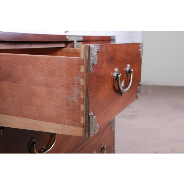 Henredon Chinoiserie Campaign Style Walnut Four-Drawer Dresser Chest For Sale - Image 9 of 13