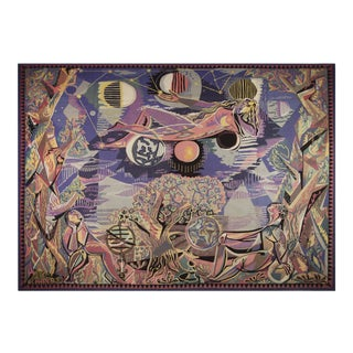 "Historical Modern Tapestry Designed by Claude Dodane - ""Allegorie Du Temps"" For Sale"