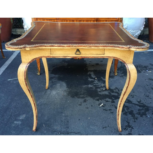 Superb Minton Spidell Leather Top Card or Game Table - Image 2 of 6