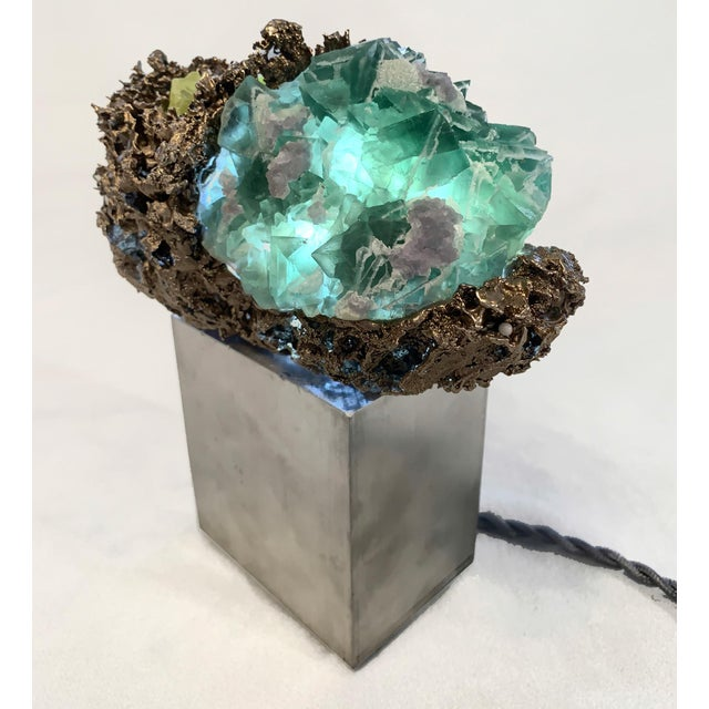"""Abstract Light Sculpture: Sea Sponge Series """"Anemone"""" Lamp, Gems, Bronze For Sale - Image 3 of 4"""