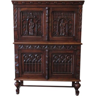 French Antique Gothic Oak Vestry Cabinet Server Sideboard