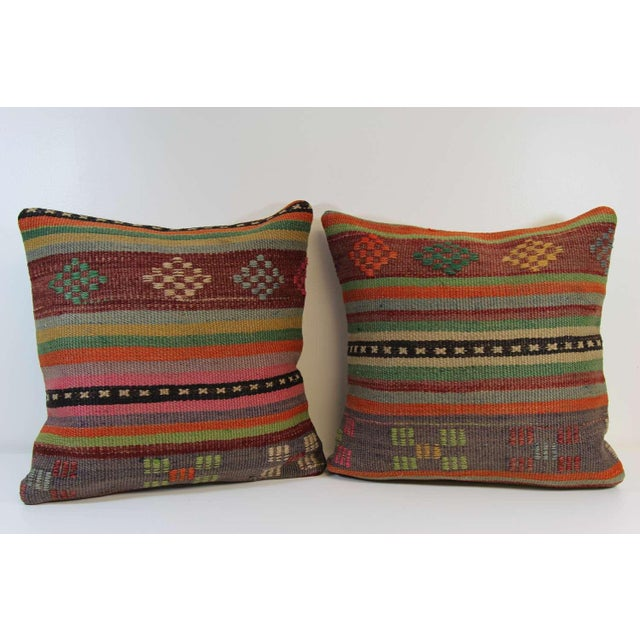 Turkish Kilim Pillow Covers - A Pair - Image 2 of 6