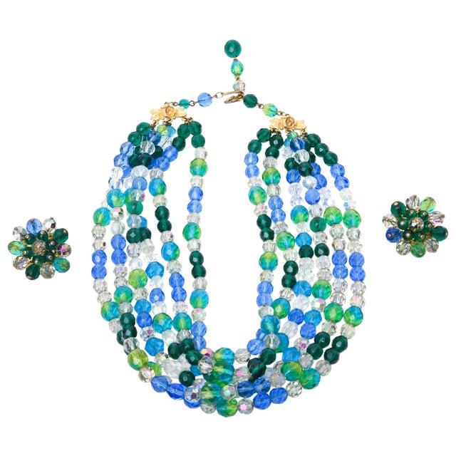 Elsa Schiaparelli Glass Strand Necklace & Clip on Earrings Set of Vintage For Sale
