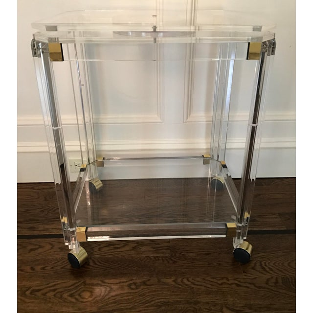 Gold Vintage Lucite and Brass Bar Cart with Swivel Top For Sale - Image 8 of 11