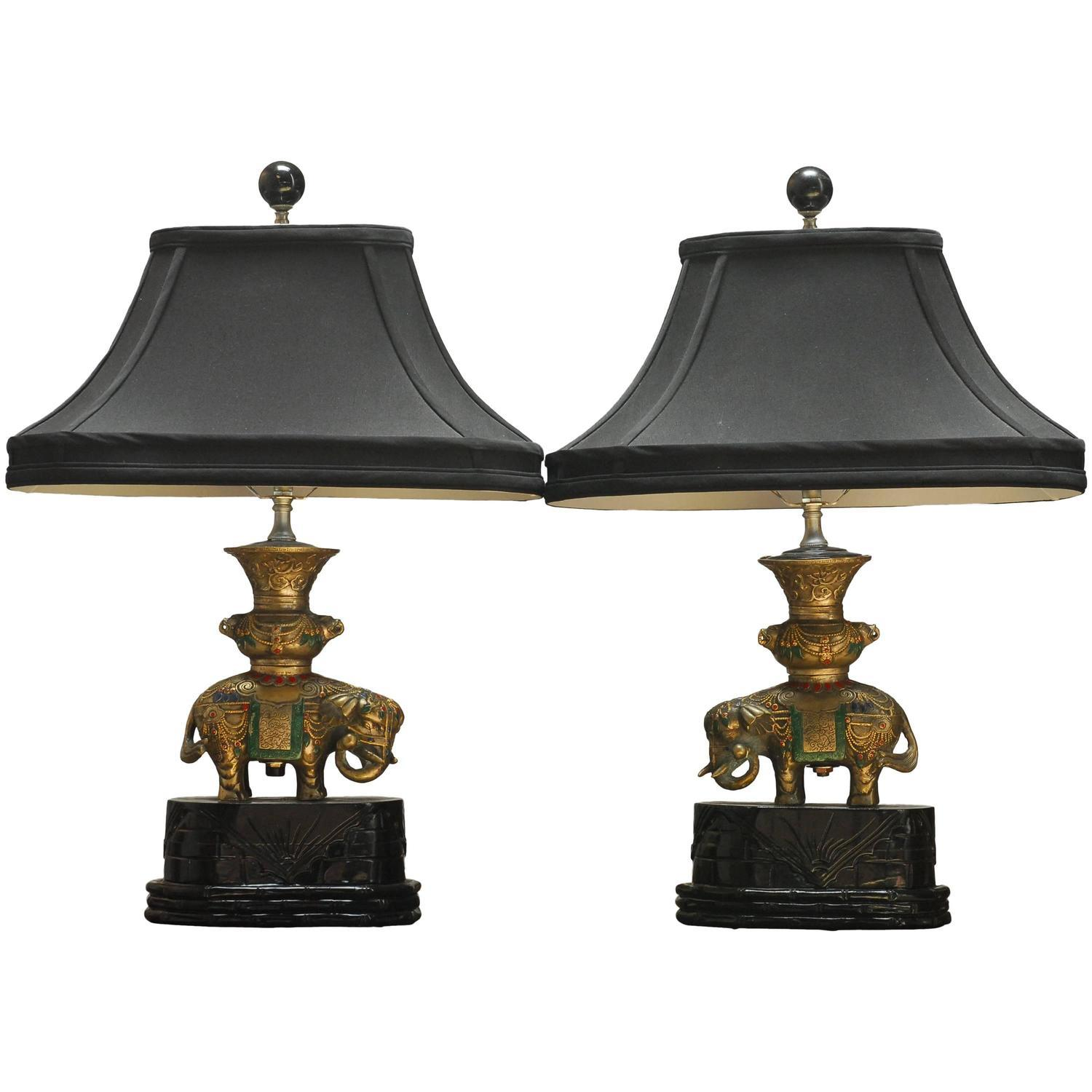 Thai White Brass Elephant Table Lamps   A Pair   Image 1 Of 6