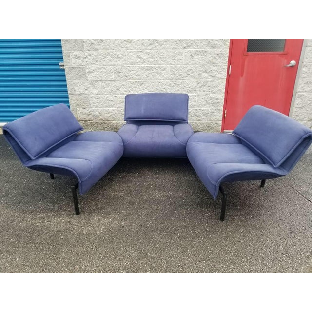 Fabric Vintage Mid Century Modern Vico Magistretti for Cassina Blue Three Seat Veranda Sofa- 3 Pieces For Sale - Image 7 of 11
