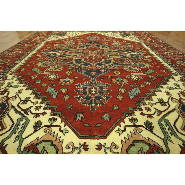 Heriz Oriental Hand Knotted Area Rug - 9'10 x 14' - Image 6 of 10