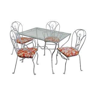Salterini Art Nouveau Style Vintage Iron 5 Piece Patio Table & Chair Garden Set For Sale