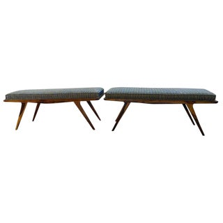 Pair of Mid-Century Modern Rosewood Benches Refinished and Reupholstered For Sale