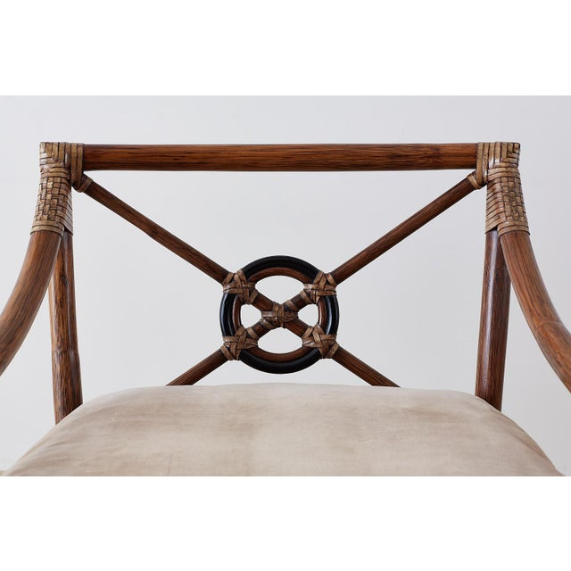 Wood Pair of McGuire Bamboo Rattan Target Lounge Chairs For Sale - Image 7 of 13