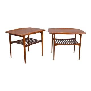 Kindt-Larsen Sculptural Solid Teak Side Tables - a Pair