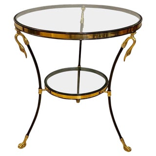 Neoclassical Style Brass and Ebony Steel Bouilliotte Table With Swan Heads For Sale