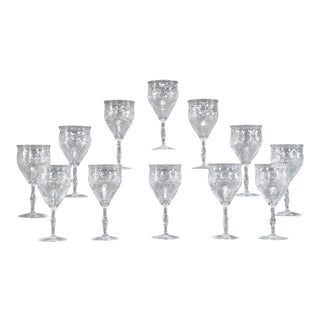 12 Webb Hand Blown Large Crystal Goblets w/ Flared Rim Engraved Prunus Blossoms For Sale