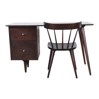 Paul McCobb Mid-Century Modern Planner Group Desk and Chair, Newly Restored For Sale