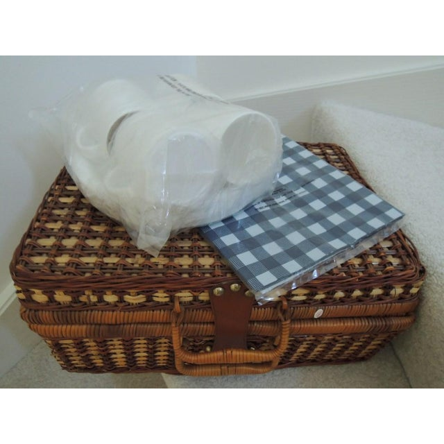 Vintage Picnic Basket & Tableware - Service for 4 For Sale - Image 10 of 13