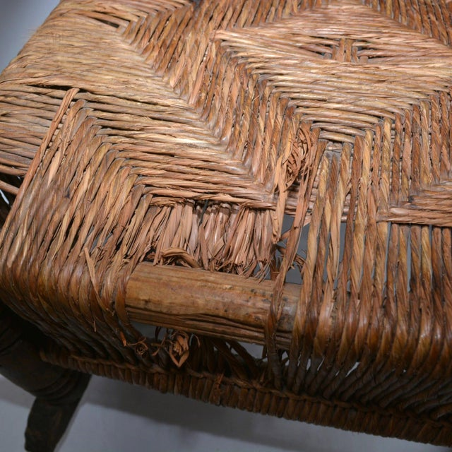 Clara Porset Antique Children's Wood & Wicker Seagrass Armchair Rocker For Sale - Image 4 of 13