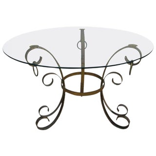 French Wrought Iron Gold Gilt Table Manner of Gilbert Poillerat For Sale