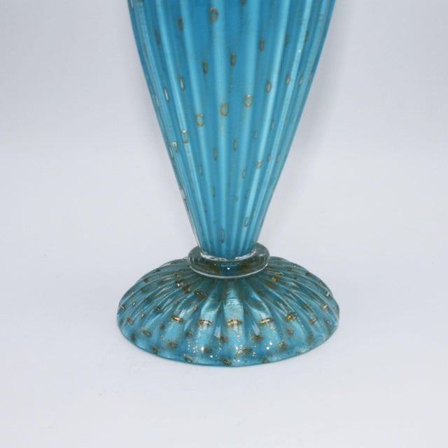 Blue Murano glass decanter with gold inclusions, c. 1950