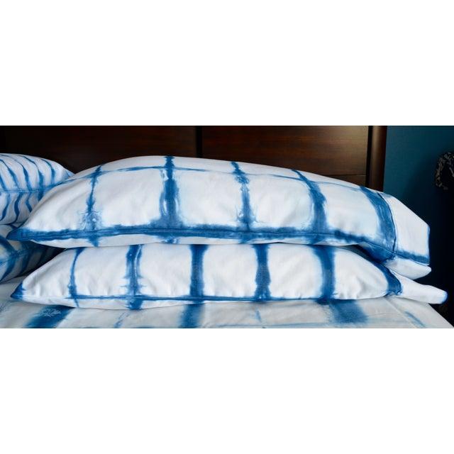 Shibori Standard Indigo/White Pillowcases - Pair - Image 3 of 4