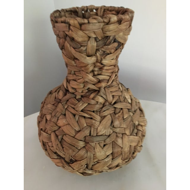 Boho Chic 20th Century Boho Chic Hand Woven Banana Leaf Basket/Vase For Sale - Image 3 of 6