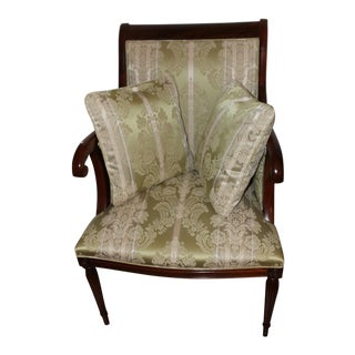 Councill Craftsman Mahogany Federal Style Chair Damask With Pillows For Sale