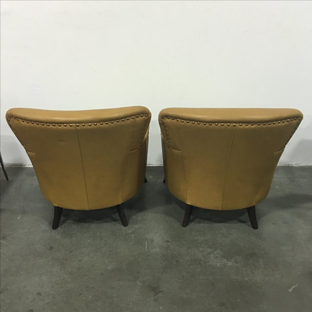 Tan Leather & Ikat Chairs - A Pair - Image 3 of 6