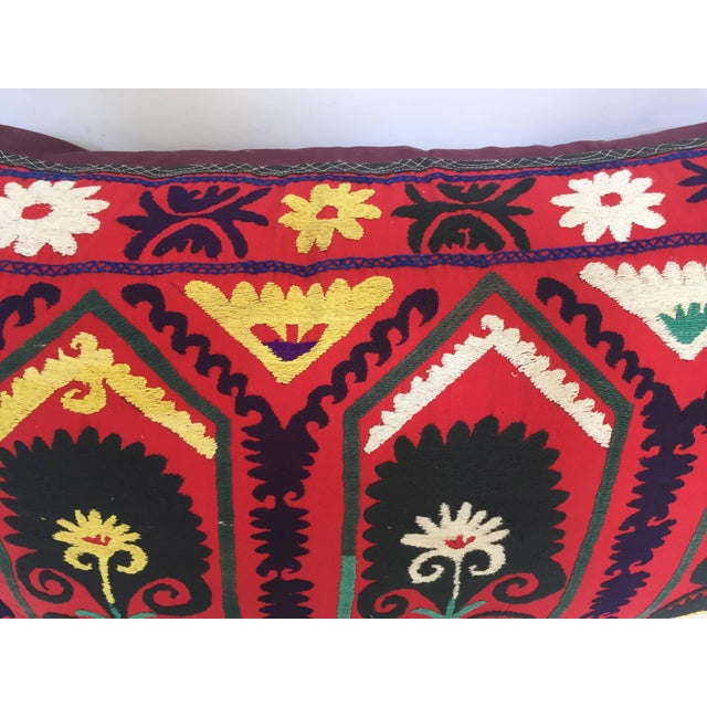 Vintage Large Colorful Suzani Embroidery Decorative Throw Pillow From Uzbekistan For Sale - Image 9 of 13