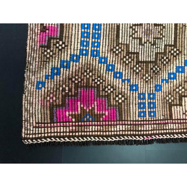 1960s Vintage Primitive Nomadic Aztec Turkish Traditional Wool Handmade Kilim Rug- 6′ × 8′8″ For Sale - Image 4 of 11