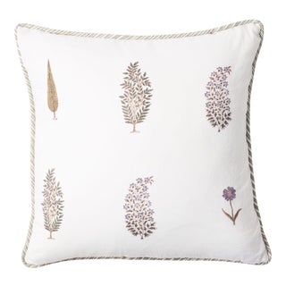 "Mughal Garden Block Print Pillow - 18x18"" For Sale"