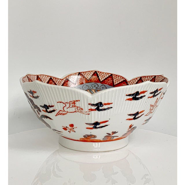Vintage Japanese Ware Porcelain Imari Blue and Red Chinoiserie Scallop Lotus bowl, beautiful Asian flowers and cranes birds.