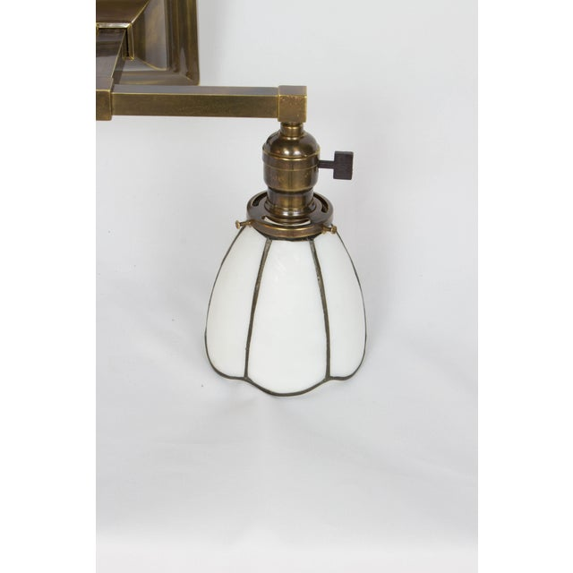 Arts & Crafts 1910 Arts and Crafts Sconces With White Slag Glass Shades - a Pair For Sale - Image 3 of 7