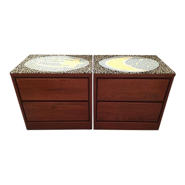 1970's Mosaic Top Nightstands - A Pair - Image 1 of 10