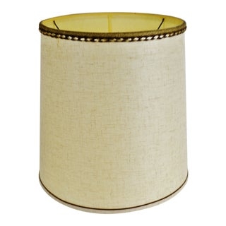 Vintage Fabric Drum lampshade W/ Decorative Piping For Sale