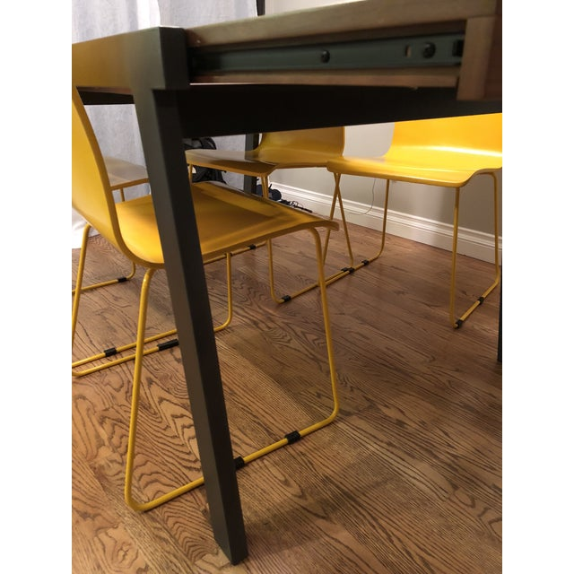 CB Wood Top Expandable Dining Table Chairish - Cb2 expandable dining table