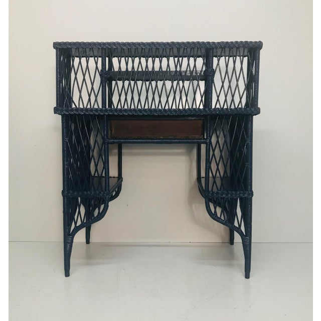 1960s Navy Rattan Writing Desk With Topper For Sale - Image 4 of 9