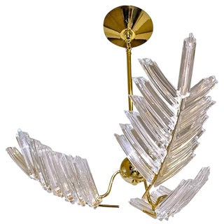 1980s Hollywood Regency Murano Triedi Crystal Palm Leaf Chandelier For Sale
