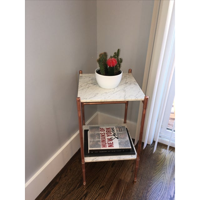 Handmade Copper & Marble Side Table - Image 2 of 6