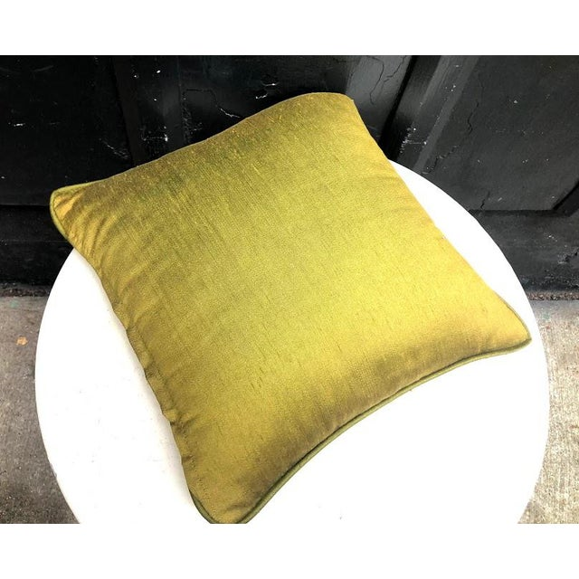 Vintage 1950s-60s olive raw silk throw pillow. Some very minor fading to color as visible in pics but otherwise excellent...