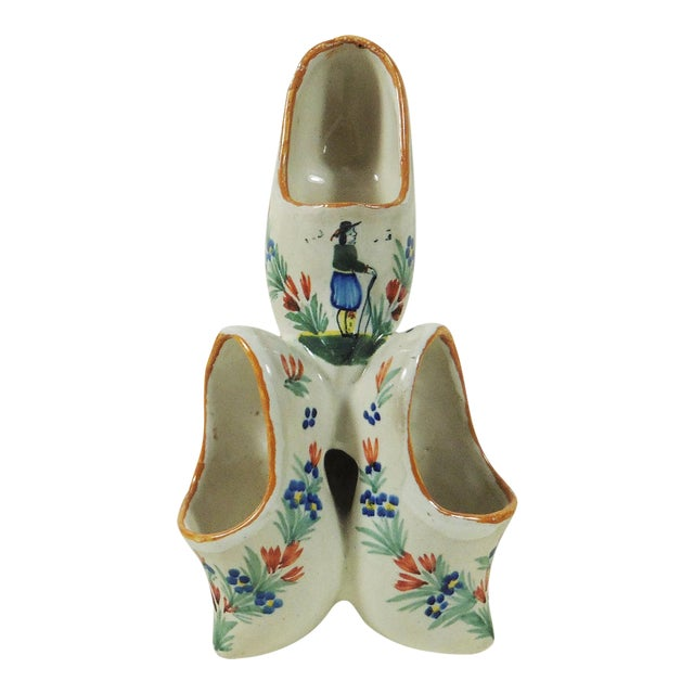 French Faience Quimper Clogs Vase - Image 1 of 4