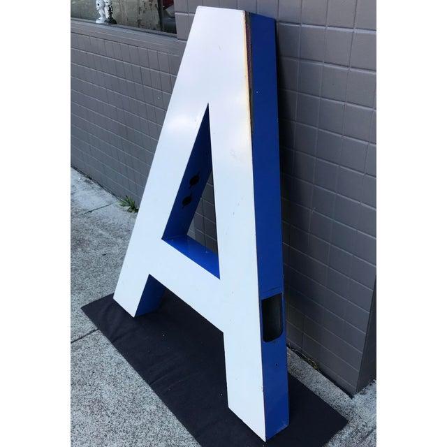 """Large Vintage Blue & White Enamel Metal """"L"""" Building Signage For Sale - Image 4 of 12"""