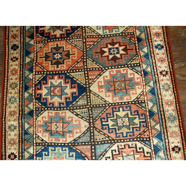 Late 19th Century 1880s Antique Hand Made Caucasian Kazak Mohan Rug- 3′10″ × 7′9″ For Sale - Image 5 of 10