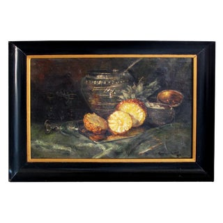 Continental School; Oil on Canvas; Still Life With Pineapple For Sale