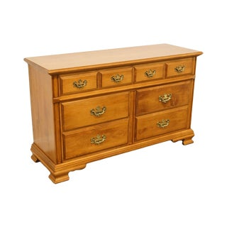 "Tell City Colonial Solid Hard Rock Maple 54"" Double Dresser For Sale"