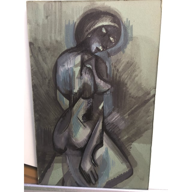 Abstract Figurative Blue and Gray Watercolor Painting - Image 3 of 4