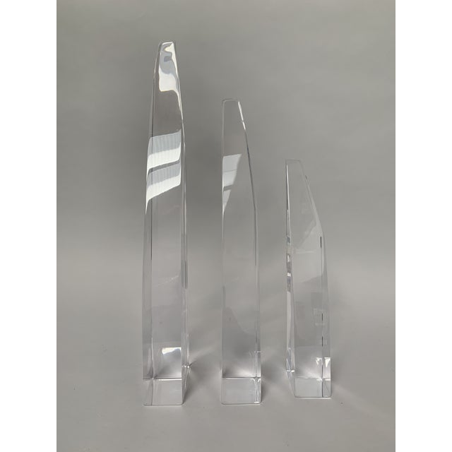 1980s Abstract Lucite Tusk-Shaped Sculptures - Set of 3 For Sale - Image 9 of 11