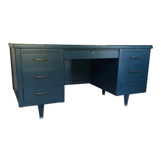 Vintage Hague Blue Alma Executive Desk For Sale