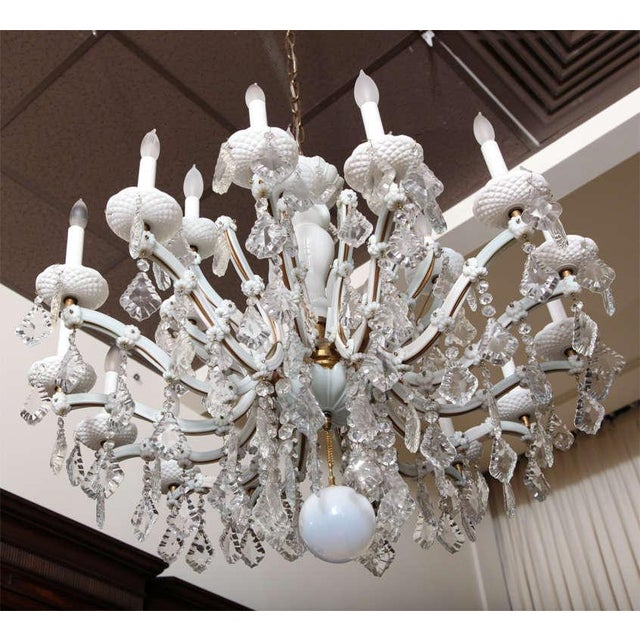 Glass Early 20th Century White Glass Maria Theresa Style Chandelier For Sale - Image 7 of 9