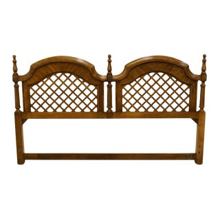 Stanley Furniture Italian Neoclassical Tuscan Style Fruitwood Lattice King Size Headboard For Sale